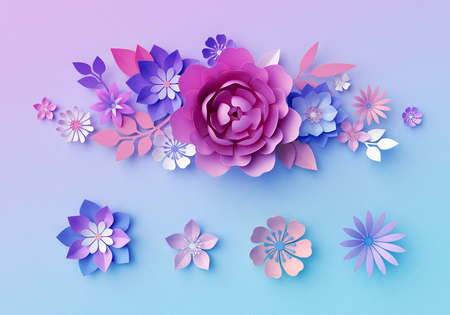 3d Render Decorative Neon Paper Flowers Isolated Floral Clip