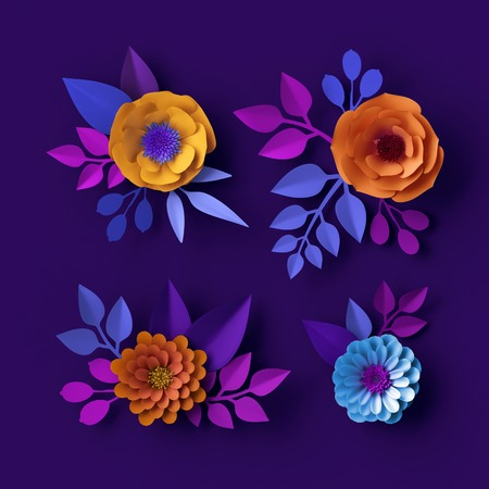 3d Colorful Neon Paper Flowers Wallpaper Botanical Background