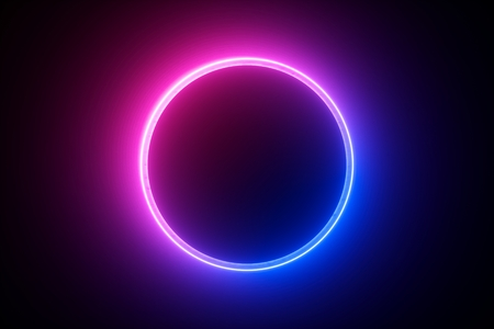 3d render, blue pink neon round frame, circle, ring shape, empty space, ultraviolet light, 80's retro style, fashion show stage, abstract background Stock fotó