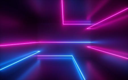 3D-Rendering, rosa blaue Neonlinien, geometrische Formen, virtueller Raum, ultraviolettes Licht, Stil der 80er Jahre, Retro-Disco, Mode-Lasershow, abstrakter Hintergrund Standard-Bild