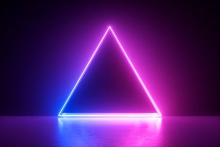 3d render, blue pink neon triangular frame, triangle shape, empty space, ultraviolet light, 80's retro style, fashion show stage, abstract background
