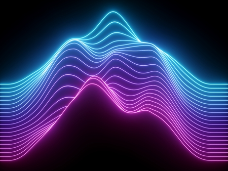 3d render, pink blue wavy neon lines, electronic music virtual equalizer, sound wave visualization, ultraviolet light abstract background
