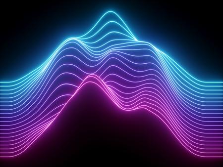 Render 3D, líneas de neón onduladas azul rosa, ecualizador virtual de música electrónica, visualización de ondas de sonido, fondo abstracto de luz ultravioleta Foto de archivo
