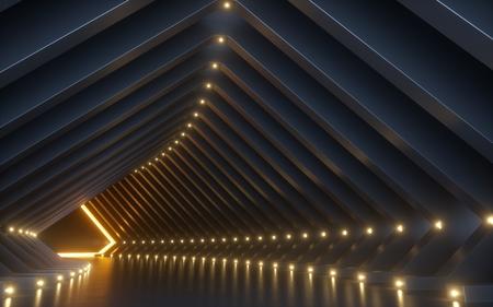 Render 3D, fondo abstracto, corredor, túnel, espacio de realidad virtual, luces de neón amarillas, podio de moda, interior del club, almacén vacío, reflejo en el piso Foto de archivo