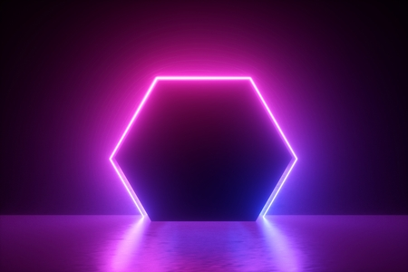 3d render, blue pink neon hexagonal frame, hexagon shape, empty space, ultraviolet light, 80's retro style, fashion show stage, abstract background