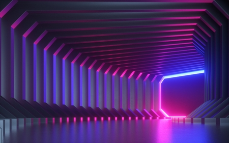 3d render, abstract neon background, corridor, tunnel, virtual reality screen, ultraviolet spectrum, laser show, fashion podium, club stage, floor reflection