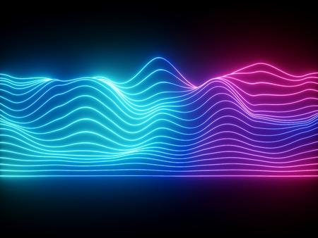 Render 3D, líneas de neón onduladas azul rosa, ecualizador virtual de música electrónica, visualización de ondas de sonido, fondo abstracto de luz ultravioleta