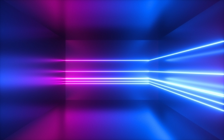 3d render, pink blue neon lines, abstract background, empty room, geometric shapes, virtual space, ultraviolet light, 80's style, retro disco club, fashion laser show Stockfoto