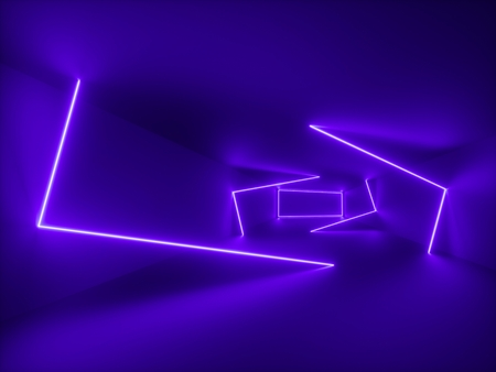 3d render, ultraviolet light, abstract background, violet neon lines, geometric shapes, virtual space, 80s style, empty room, retro disco club, fashion laser show 스톡 콘텐츠