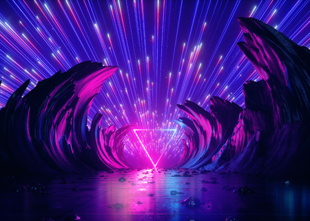 3d render, abstract futuristic neon background, pink blue fireworks, cosmic landscape, glowing triangular frame, ultraviolet light, virtual reality space, energy source, mountains, rocks, ground, grid 版權商用圖片