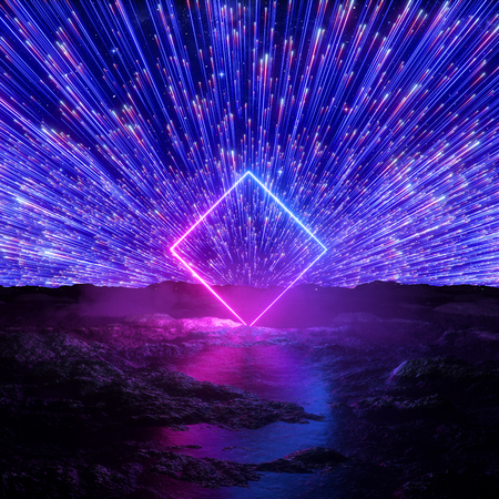 3d render, abstract futuristic neon background, pink blue fireworks, cosmic landscape, glowing square frame, rhombus shape, ultraviolet light, virtual reality space, energy source, wet ground