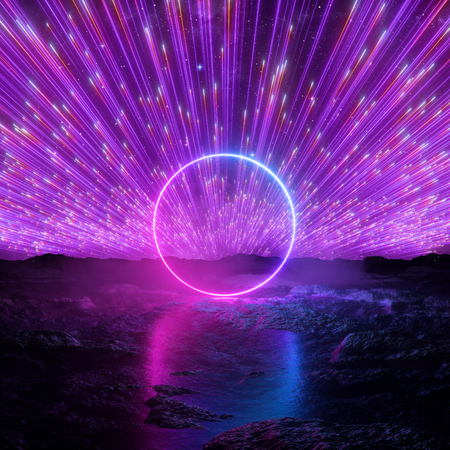 3d render, abstract futuristic neon background, pink violet fireworks, cosmic landscape, glowing round frame, ring shape, ultraviolet light, virtual reality space, energy source, wet ground Reklamní fotografie