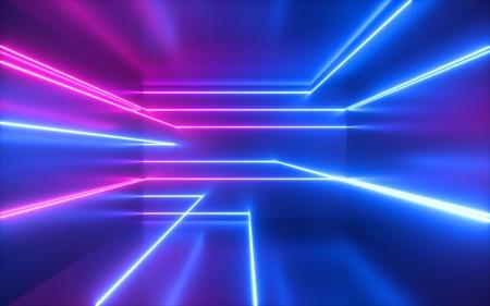 3D-Rendering, rosa blaue Neonlinien, geometrische Formen, virtueller Raum, ultraviolettes Licht, Stil der 80er Jahre, Retro-Disco, Mode-Lasershow, abstrakter Hintergrund
