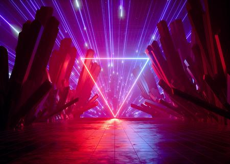 rendu 3d, arrière-plan abstrait néon futuriste, feux d'artifice rouge rose au-dessus des roches cristallines, paysage cosmique, cadre triangulaire lumineux, lumière ultraviolette, réalité virtuelle, source d'énergie, espace sombre Banque d'images
