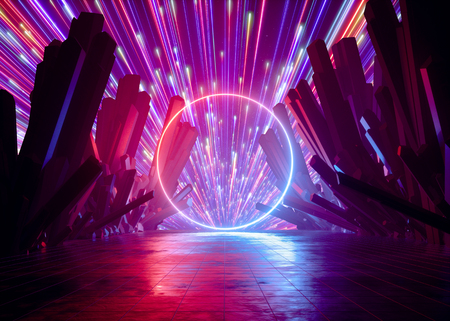 3d render, abstract futuristic neon background, pink red fireworks above crystal rocks, cosmic landscape, glowing round frame, ring, ultraviolet light, virtual reality, energy source, dark space