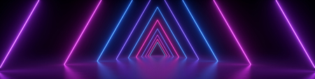 3d render, abstract panoramic background, neon light, glowing lines, triangular shape, ultraviolet spectrum, virtual reality, laser show