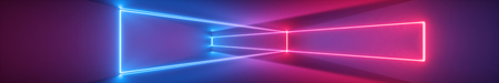 3d render, abstract panoramic background, neon light, tunnel, corridor, glowing lines, geometric shapes, ultraviolet spectrum, virtual reality, laser show
