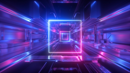 3d render, abstract futuristic geometric background, glowing square shape, neon light, tunnel, corridor, space station interior, geometric structure, cyber safety, virtual reality, ultraviolet Standard-Bild