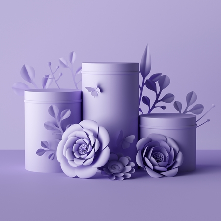 3d render, violet botanical background, cylinder pedestal decorated with paper flowers, floral package, gift box mockup, blank cosmetics store showcase stand, fashion background, presentation template