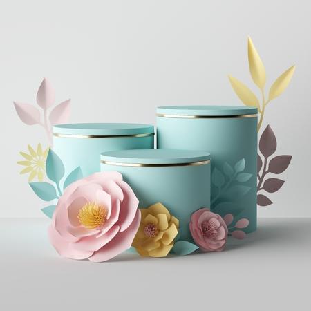 3D-Rendering, botanische Komposition in Pastellfarben, Zylindersockel verziert mit rosa gelben Papierblumen, leerer Kosmetikladen-Vitrinenstand, Modehintergrund, Präsentationsvorlage, Mockup Standard-Bild