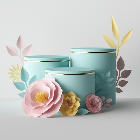 Render 3D, composición botánica en colores pastel, pedestales de cilindro decorados con flores de papel amarillo rosa, soporte de escaparate de tienda de cosméticos en blanco, fondo de moda, plantilla de presentación, maqueta Foto de archivo