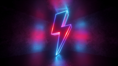 3d render, neon light abstract background, glowing thunderbolt, electricity power symbol, lightning sign Фото со стока