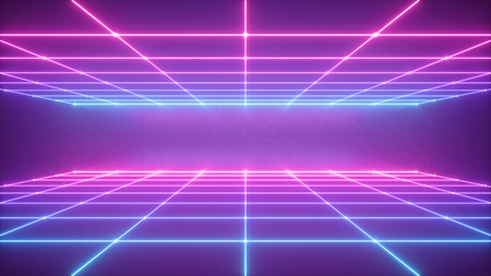 3d render, abstract neon background, virtual reality space, pink blue grid in ultraviolet spectrum, chart field, frontal perspective view