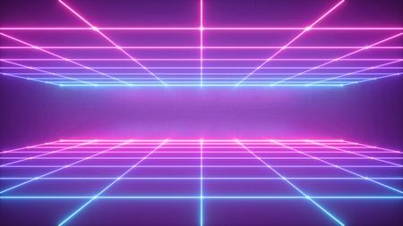 Render 3D, fondo de neón abstracto, espacio de realidad virtual, cuadrícula azul rosa en el espectro ultravioleta, campo gráfico, vista en perspectiva frontal Foto de archivo