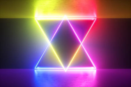 3d render, vibrant neon abstract background, bright colorful lights on performance stage Stock fotó