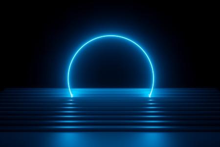 rendu 3d, fond néon bleu abstrait, scène de performance musicale moderne, arc rond brillant futuriste au-dessus des escaliers, bannière vierge, spectre ultraviolet, spectacle laser Banque d'images