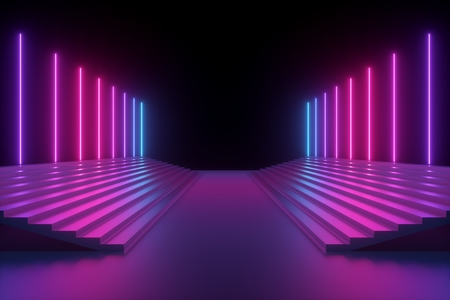 Render 3D, fondo de neón azul rosa abstracto, líneas verticales brillantes, escaleras iluminadas, espectro ultravioleta, podio de moda, escenario de actuación