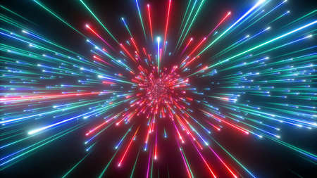 3d render, big bang, galaxy expanding, abstract cosmic background, celestial, beauty of universe, speed of light, red green fireworks, neon glow, stars, cosmos, ultraviolet infrared light, outer space