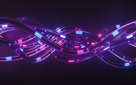 3d render, abstract background, pink blue neon light impulse going through cables, big data transfer, network