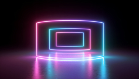 3d rendering, neon lights, abstract ultraviolet background, virtual reality screen, laser show, rectangular blank frame, tunnel, glowing lines, floor reflection, vibrant colors Stock fotó
