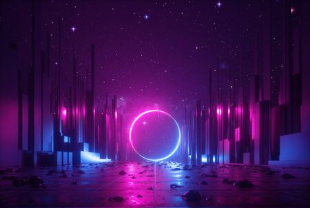 3d abstract neon background, cyber space virtual reality urban scene, glowing round shape portal at the end of the street, fantastic city, minimal skyscrapers, post apocalyptic concept, night sky Standard-Bild