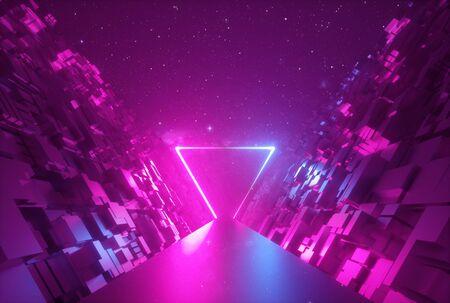 Fond néon abstrait 3d, portail triangulaire brillant dans le cyberespace, forme triangulaire, scène fantastique en réalité virtuelle, route entre les murs de blocs sous le ciel nocturne