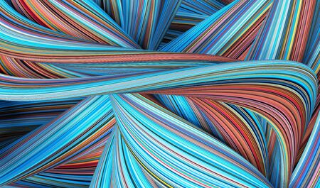 3d render, abstract creative blue red background, neon curvy lines, folded ribbons Archivio Fotografico
