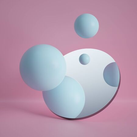3d render, pastel blue balls reflecting in round mirror isolated on pink background, abstract concept