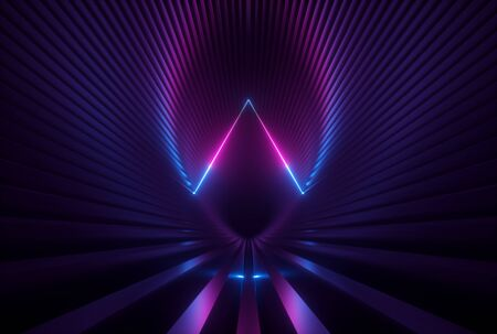 3d render, pink blue neon abstract background with glowing triangle lines, ultraviolet light, laser show, wall reflection, triangular shape