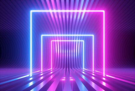 3d render, pink blue violet neon abstract background with glowing square shapes, ultraviolet light, laser show performance stage, floor reflection, blank rectangular frame gates