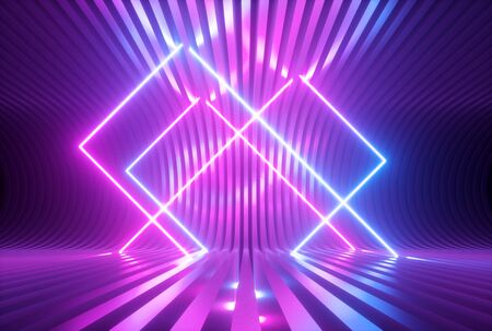 3d render, pink blue violet neon abstract background with glowing square shapes, ultraviolet light, laser show performance stage, floor reflection, rectangular frame gates 免版税图像