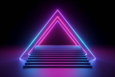 3d render, abstract neon background, music performance stage, glowing pyramid shape above empty fashion podium, stairs, triangular shape, ultraviolet spectrum, pink blue laser show