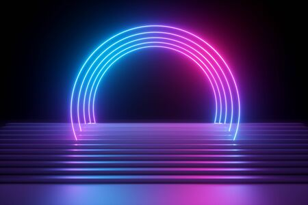 3d render, abstract neon background, modern music performance stage, pink blue lights, futuristic round arch, glowing lines over stairs, blank banner, ultraviolet spectrum, laser show