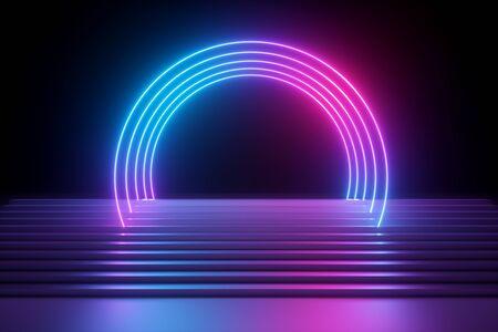 Render 3D, fondo de neón abstracto, escenario de actuación de música moderna, luces azul rosa, arco redondo futurista, líneas brillantes sobre escaleras, banner en blanco, espectro ultravioleta, espectáculo de láser