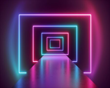 3d render, abstract neon background, virtual reality tunnel, ultraviolet spectrum, fashion catwalk podium, empty performance stage, floor reflection