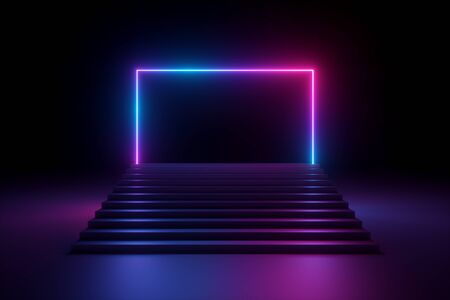 3d render, abstract pink blue violet neon background, music performance stage, glowing rectangular arch over stairs, blank banner, ultraviolet spectrum, laser show