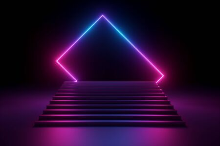 3d render, abstract pink blue violet neon background, music performance stage, glowing polygonal shape over stairs, blank banner, ultraviolet spectrum, laser show