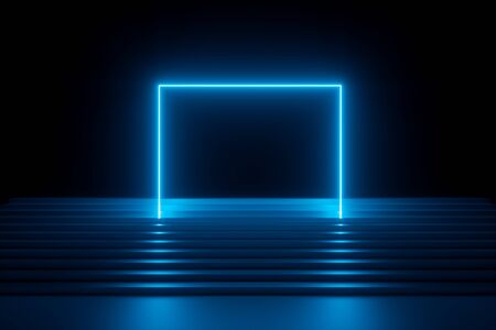 3d render, abstract blue neon background, modern music performance stage, glowing rectangular arch over stairs, blank banner, ultraviolet spectrum, laser show Stock Photo
