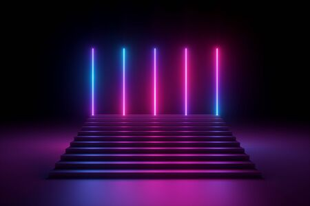 3d render, abstract pink blue neon background, glowing vertical lines, illuminated stairs, ultraviolet spectrum, fashion podium, performance stage
