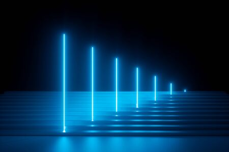 3d render, abstract blue neon background, glowing vertical lines, illuminated stairs, fashion podium, performance stage Stock Photo